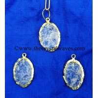 Crystal Quartz Handkanpped Oval Gold Electroplated Pendant