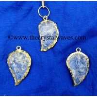 Crystal Quartz Handkanpped Mango Shape Gold Electroplated Pendant