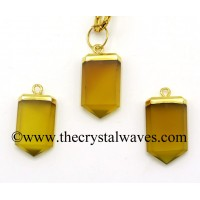 Yellow Chalcedony / Onyx Small Flat Pencil Gold Electroplated Pendant