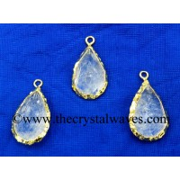 Crystal Quartz Small Handknapped Pear Gold Electroplated Pendant