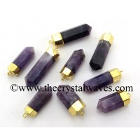 Amethyst Gold Electroplated Pencil Pendant