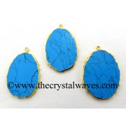Turquoise With Black Matrix Manmade Flat Egg Shaped Oval Gold Electroplated Pendants