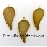 Yellow Aventurine Angel Wing Gold Electroplated Pendant
