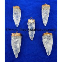 Crystal Quartz 4 Side Handknapped Tooth  Copper Electroplated Cap Pendant