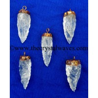 Crystal Quartz 3 Side Handknapped Tooth  Copper Electroplated Cap Pendant