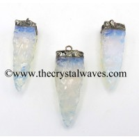 Opalite 4 Side Handknapped Tooth Black Rhodium Electroplated Pendant