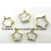 Crystal Quartz Star Gold Electroplated Pendant