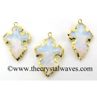 Opalite Cross Arrowhead Shape Gold Electroplated Pendant