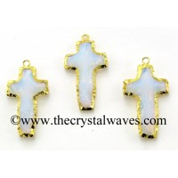 Opalite Cross Shape Gold Electroplated Pendant