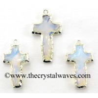 Opalite Cross Shape Silver Electroplated Pendant