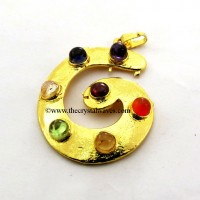 G Shape Chakra Gold Plated Metal Pendant