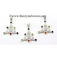 Triangle Moon Star Chakra Metal Pendant