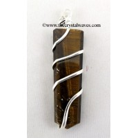 Tiger Eye Agate  Cage Wrapped Flat Pencil Pendant