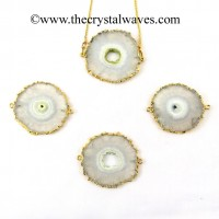 Solar Quartz Regular Size Round Connector Pendant