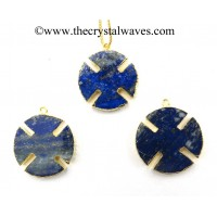 Lapis Lazuli Viking's Cross Gold Electroplated Pendant