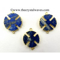 Lapis Lazuli Viking's Cross Gold Electroplated Connector / Pendant