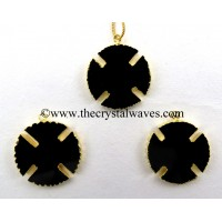 Black Agate Viking's Cross Gold Electroplated Pendant