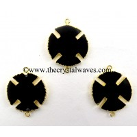 Black Agate Viking's Cross Gold Electroplated Connector / Pendant