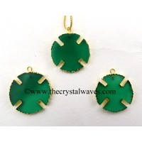 Green Chalcedony Viking's Cross Gold Electroplated Pendant