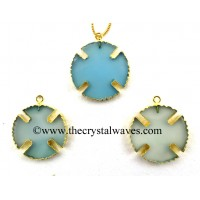 Blue Chalcedony Viking's Cross Gold Electroplated Pendant