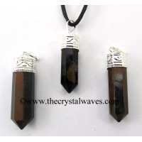 Blue/ Black Tiger Eye Agate Capped Pencil Pendant