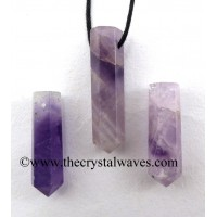 Chevron Amethyst Pencil Pendant