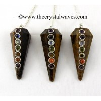 Tiger Eye Agate Faceted Chakra Pendulum