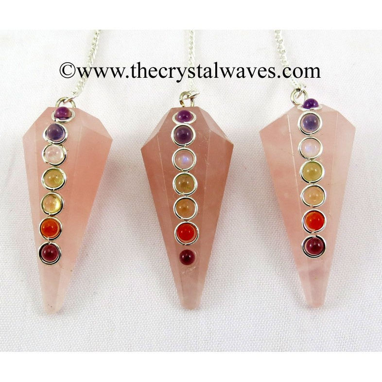 Faceted Gemstone Pendulums With Chakra Cabs