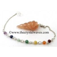 Peach Moonstone Spiral Pendulum With Chakra Chain