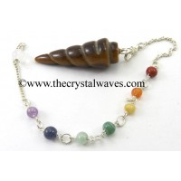 Yellow Tiger Eye Agate Spiral Pendulum With Chakra Chain