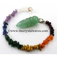 Green Aventurine Egyptian Style Pendulum With Chakra Chips Chain