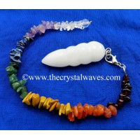 White Agate / Aventurine Egyptian Style Pendulum With Chakra Chips Chain