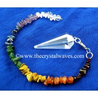 Crystal Quartz AA Grade Faceted Pendulum With Chakra Chips Chain
