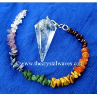 Crystal Quartz Good Quality Faceted Pendulum With Chakra Chips Chain