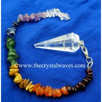 Crystal Quartz B Grade Faceted Pendulum With Chakra Chips Chain
