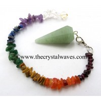 Green Aventurine (Light) Faceted Pendulum With Chakra Chips Chain