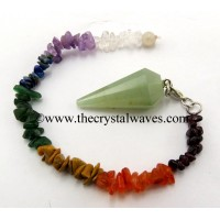 Green Aventurine (Light) 12 Facets Pendulum With Chakra Chips Chain