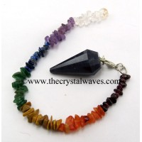 Blue Aventurine 12 Facets Pendulum With Chakra Chips Chain