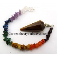 Tiger Eye Agate 12 Facets Pendulum With Chakra Chips Chain