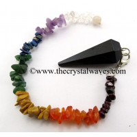 Black Agate Faceted Pendulum With Chakra Chips Chain