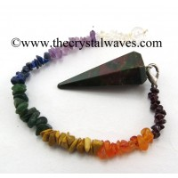 Blood Agate Faceted Pendulum With Chakra Chips Chain