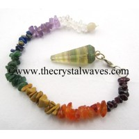 Fluorite Faceted Pendulum With Chakra Chips Chain