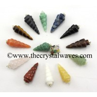 Mix Assorted Gemstone Spiral Pendulum With Chakra Chain