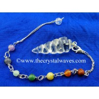 Crystal Quartz Spiral Pendulum With Chakra Chain
