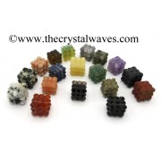 Mix Assorted Gemstones Lemurian 54 Pyramid Power Cube