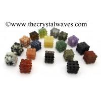 Mix Assorted Gemstones Lemurian 54 Pyramid Power Cube