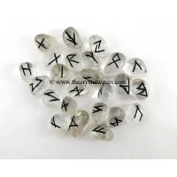 Crystal Quartz Tumbled Rune Sets With Black Writing