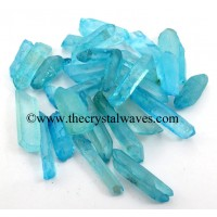 Aqua Aura Dyed Crystal Quartz A Grade Raw Pencil Points