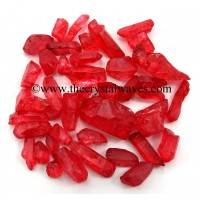 Ruby Aura Dyed Crystal Quartz A Grade Raw Chunks